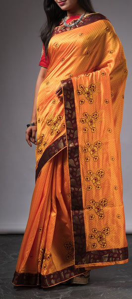 Mango Yellow Tanchui Silk Saree