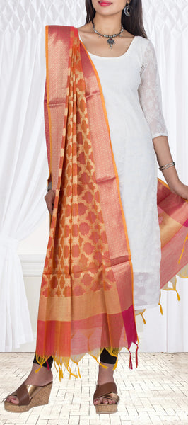 Burnt Orange Semi Benarasi Dupatta