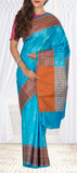 Sky Blue & Brown Tussar Silk Saree