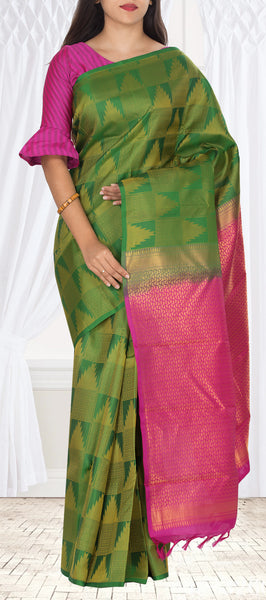 Green & Purple Pure Kanchipuram Handloom Silk Saree With Half Fine Zari