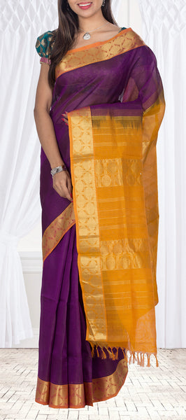 Purple & Mustard Traditional Silk Cotton Saree
