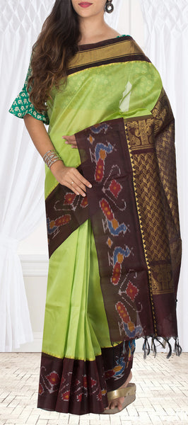 Light Green & Snuff Brown Silk Cotton Saree