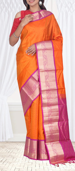 Orange Lightweight Kanchipuram Silk Saree
