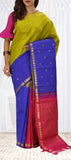 Green, Blue & Pink Pure Kanchipuram Handloom Silk Saree