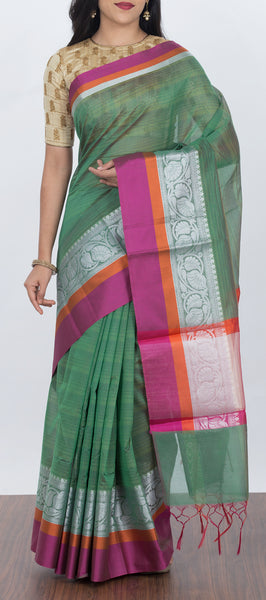 Sea Weed Green Cotton Saree