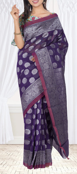 Purple Semi Silk Cotton Casual Saree