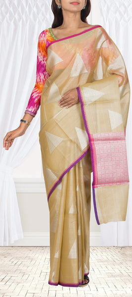 Gold Tissue Borderless Organza Casual Saree