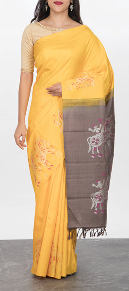 Borderless Sunflower Yellow Kanchipuram Silk Saree