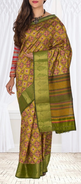 Mustard & Green Semi Pochampalli Casual Saree