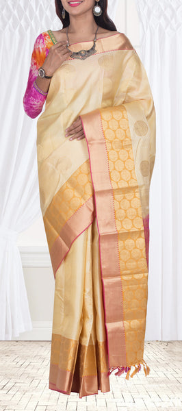 Cream & Onion Pink Lightweight Kanchipuram Pure Silk Saree