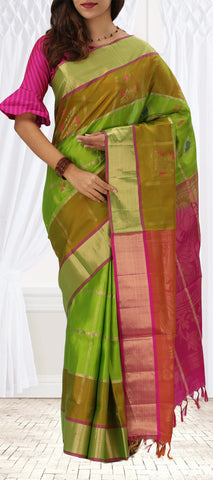 Green And Pink Softsilk Saree