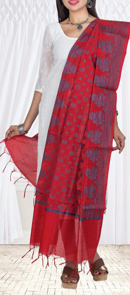 Red Cotton Dupatta With Threadwork