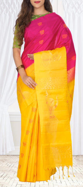 Dark Pink & Yellow Soft Silk Saree