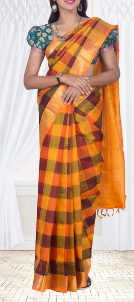 Mustard, Maroon & Green Checked Traditional Silk Cotton Saree