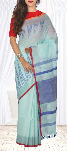 Powder Blue Linen Silk Saree