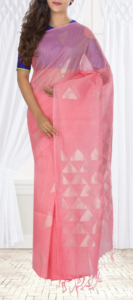 Unique Pink Silk Cotton Saree