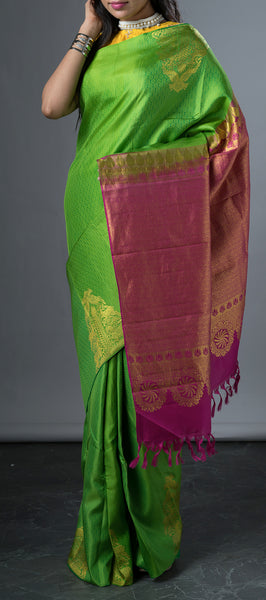 Borderless Green Soft silk Saree