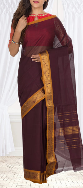 Maroon & Mustard Cotton Saree