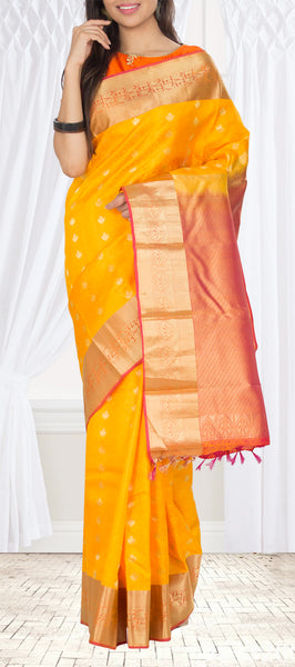 Yellow & Orange Lightweight Kanchipuram Silk Saree