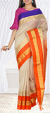 Off White, Purple & Orange Silk Cotton Saree