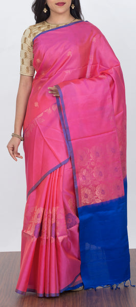 Light Pink Softsilk Saree with Jute Pallu