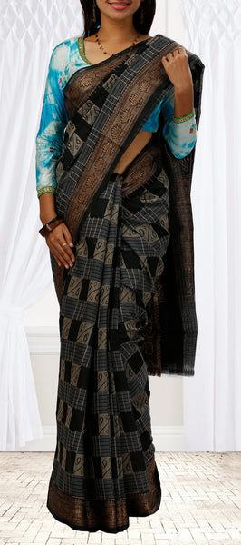 Black & Cream Semi-Silk Cotton Fancy Saree