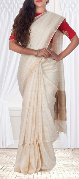 Cream Semi Linen Casual Saree