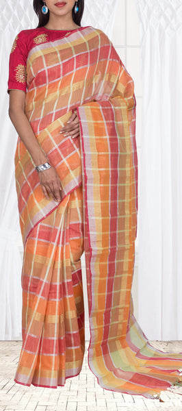 Orange, Pink & Fawn Checked Semi Silk Cotton Casual Saree
