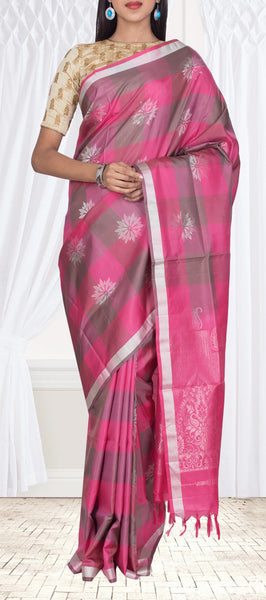 Pink & Green Checked Pure Soft Silk Saree