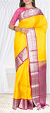 Yellow & Purple Pure Handloom Kanchipuram Silk Saree