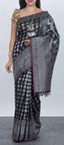 Black Semi Kora Silk Saree