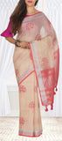 Cream & Peach Semi Linen Saree