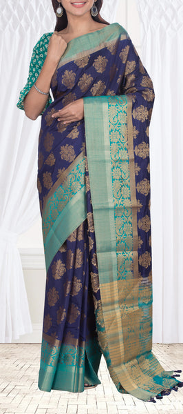 Dark blue semi benarasi saree