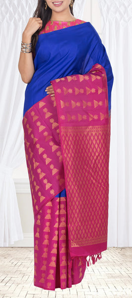 Royal Blue & Purple Lightweight Kanchipuram Pure Silk Saree