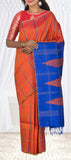 Orange & Blue Jute Silk Saree