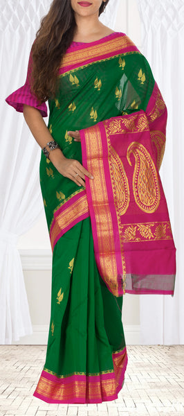 Green & Magenta Traditional Semi Silk Cotton Saree