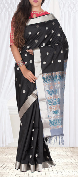 Black Pure Soft Silk Saree With Half-Fine Zari