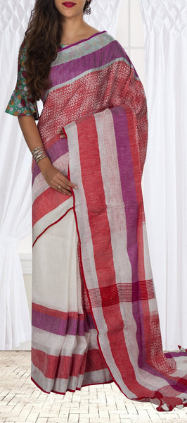 Ivory Linen Silk Saree