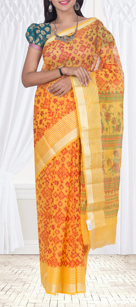 Yellow Printed Maheswari Cotton Saree