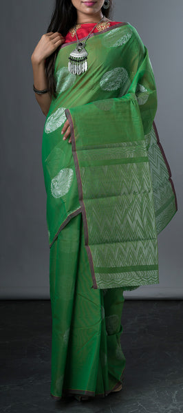 Borderless Emerald Green Semi Silk Cotton Saree