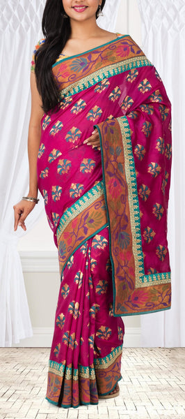 Pink Pure Tussar Saree With Attached Border