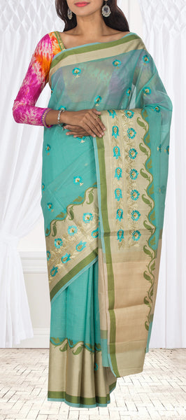 Sky Blue Supernet Casual Saree