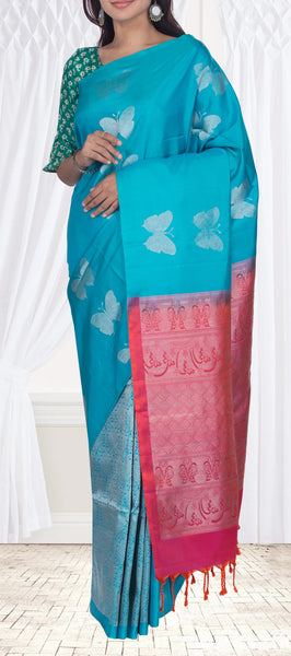 Teal Blue Borderless Soft Silk Saree