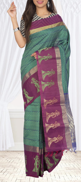 Moss Green & Purple Semi Silk Cotton Saree