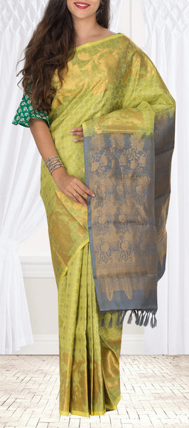 Neon Yellow & Grey Pure Kanchipuram Handloom Silk Saree With Half-Fine Zari