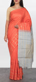 Peach Kanchiuram Silk Saree with Zari Checks