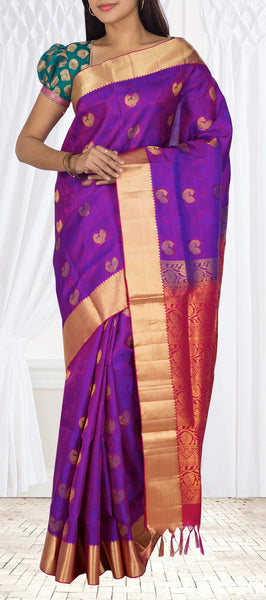 Purple & Maroon Lightweight Kanchipuram Silk Saree