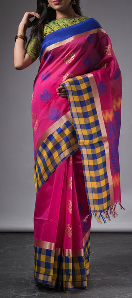 Pink Semi Silk Cotton Saree with Border Checks