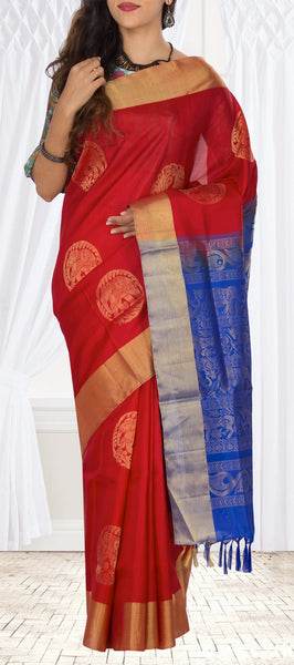 Red & Blue Soft Silk Saree