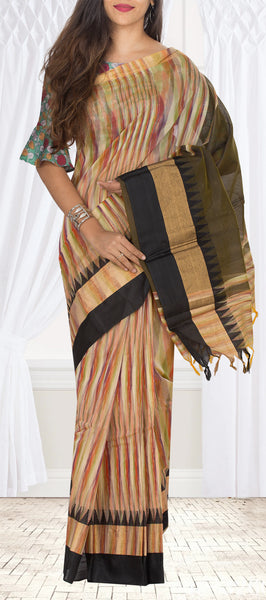 Cream & Black Semi Silk Cotton Casual Saree